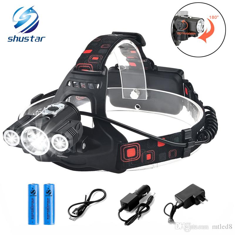 Shustar Led Head Lamp 3x T6 3 Lamps 4 Dimmable Mode Waterproof