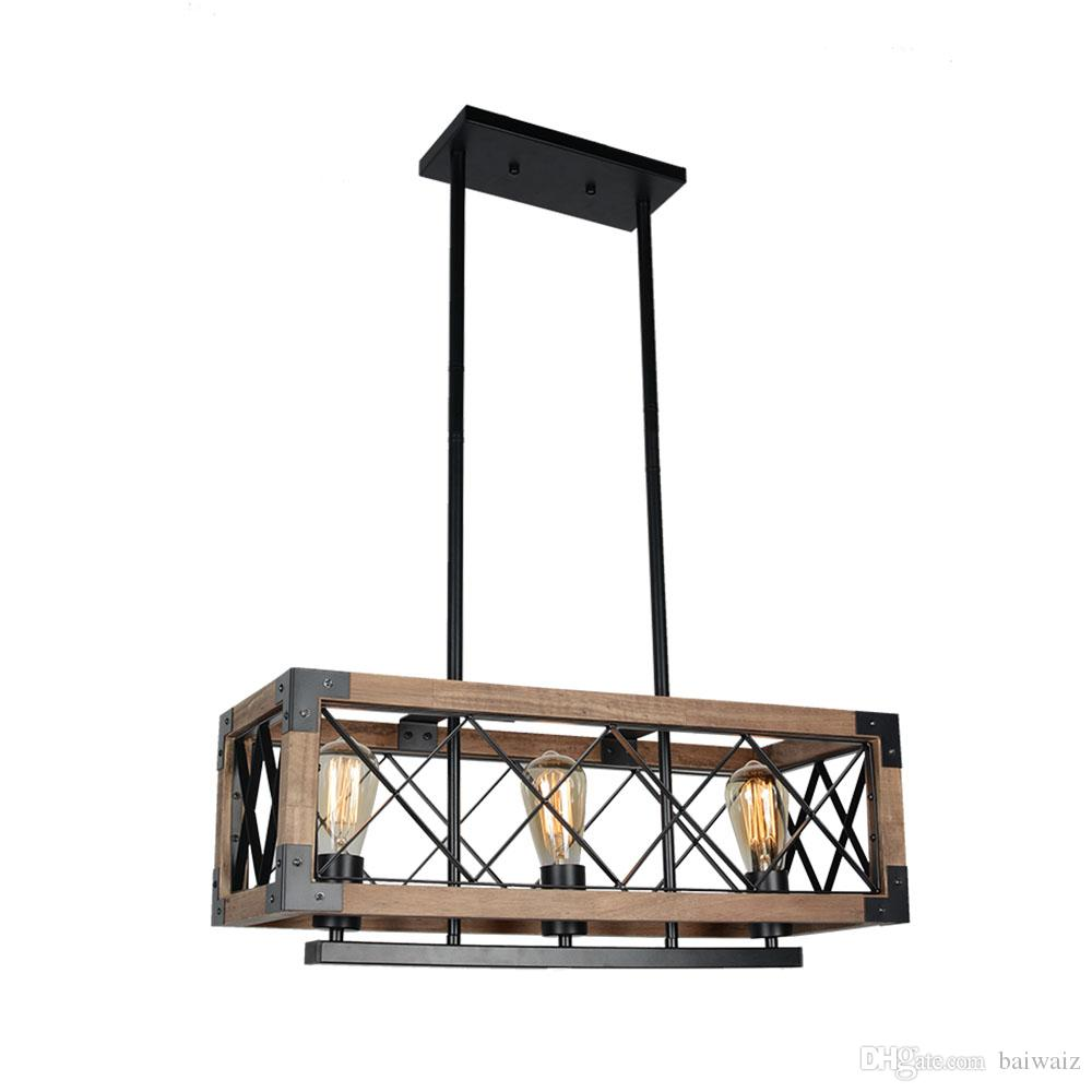 2018 Rustic Kitchen Island Light 3 Light Square Wood And Metal Pendant Lighting Industrial Vintage Chandelier Adjustable Linear Caged Light Fixt From ...  sc 1 st  DHgate.com & 2018 Rustic Kitchen Island Light 3 Light Square Wood And Metal ...