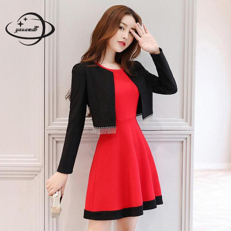 YAUAMDB Women Dress Suits 2018 Spring Autumn S-XL Female Blazer Clothing  Set Jacket+knee Length Dress Ladies Clothes Ly97 Dress Suits Cheap Dress  Suits ... 8764024f5298