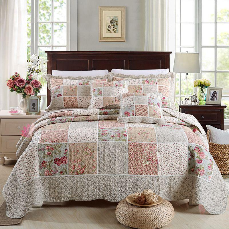 Chausub Cotton Patchwork Quilt Set Korean Floral Bedspread Bed