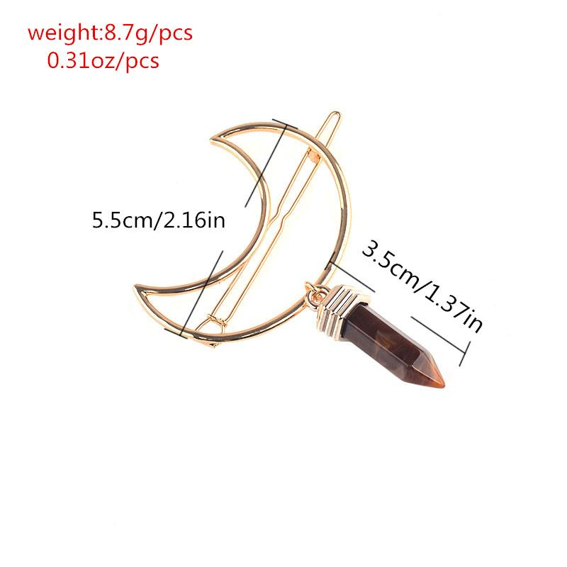 New Purple Resin Pendant Golden Color Crescent Moon Hair Pins Clips Fashion Head Band Hair Accessory for Women Jewelry