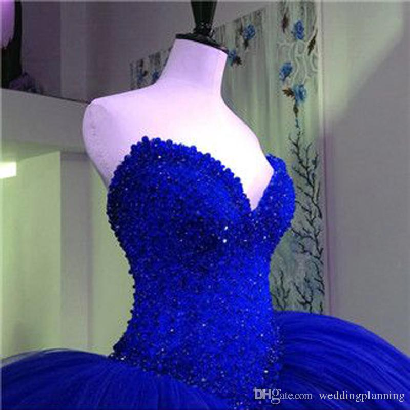 Luxury Real Image Senior Ball Gown Quinceanera Dress Royal Blue Red Dream Ball Gowns Bridal Tutu Bridal Party Dress Gowns