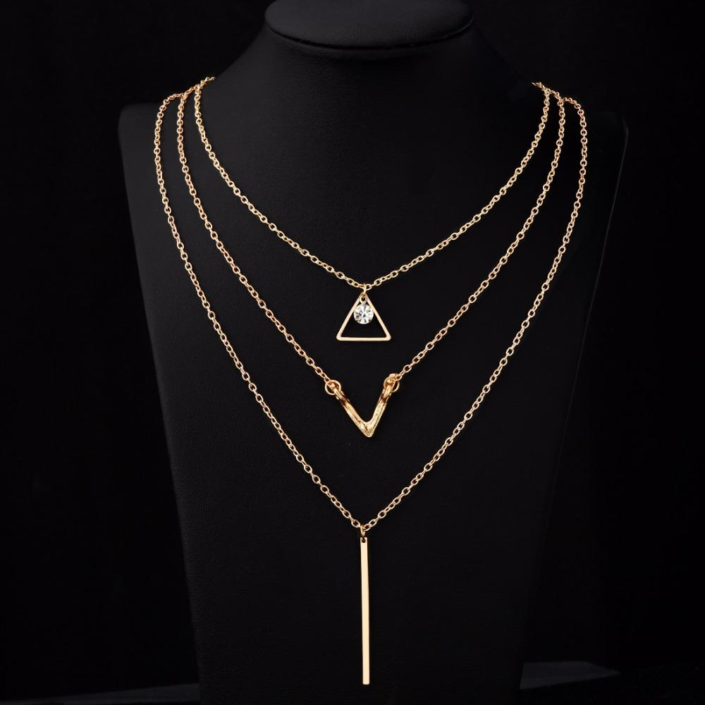 1ca42784a3 Hesiod Gold Chain Zircon Crystal Multi-layer Short Choker Chain Vintage  Geometric Pattern Chocker Collar Femme Bijoux Women Gift