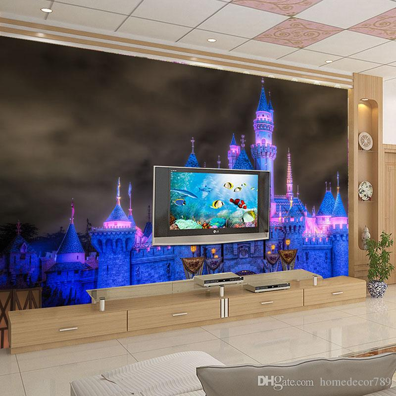 Custom Mural Wallpaper 3D Light Night Scene Fairy Tale Castle Photo Wall Paper For Wall Cartoon Kids Bedroom Backdrop Wall Decor