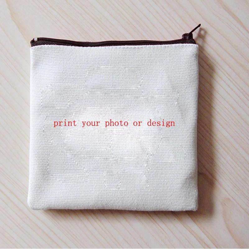 canvas pen bags coin purse Cosmetic Bag makeup bags wallet with your custom photo or design or logo Square shape retail