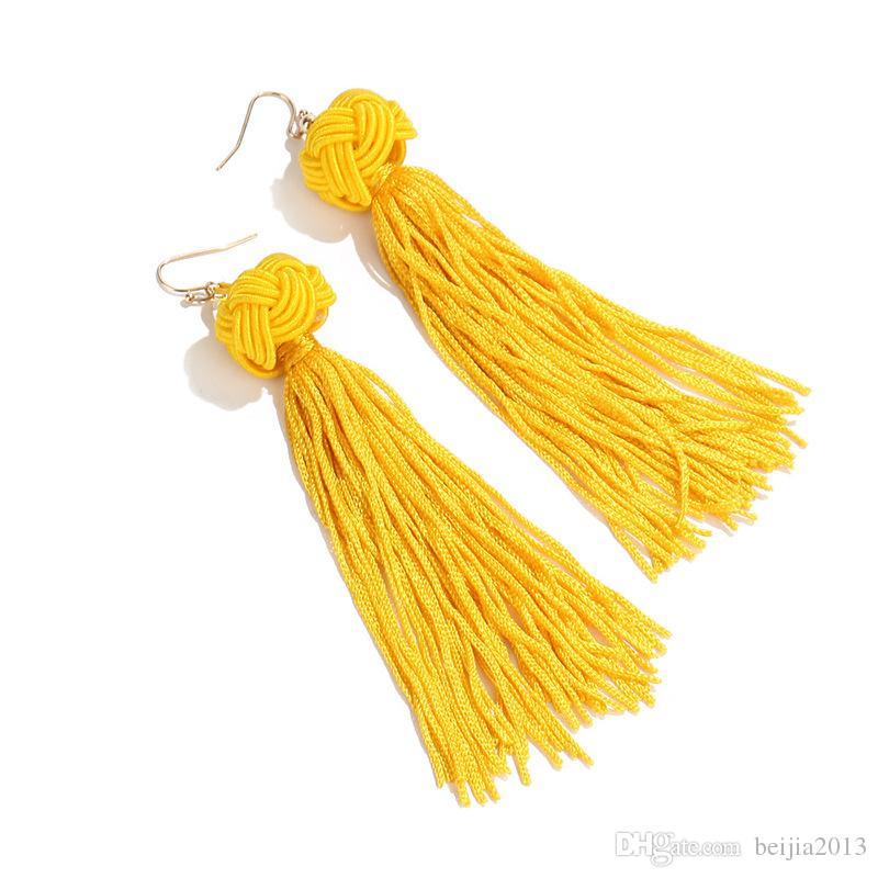 Ручной работы кисточкой серьги 5 цветов модный черный красный желтый зеленый белый длинные болтается уха Broncos шелковой бахромой ювелирные изделия для женщин