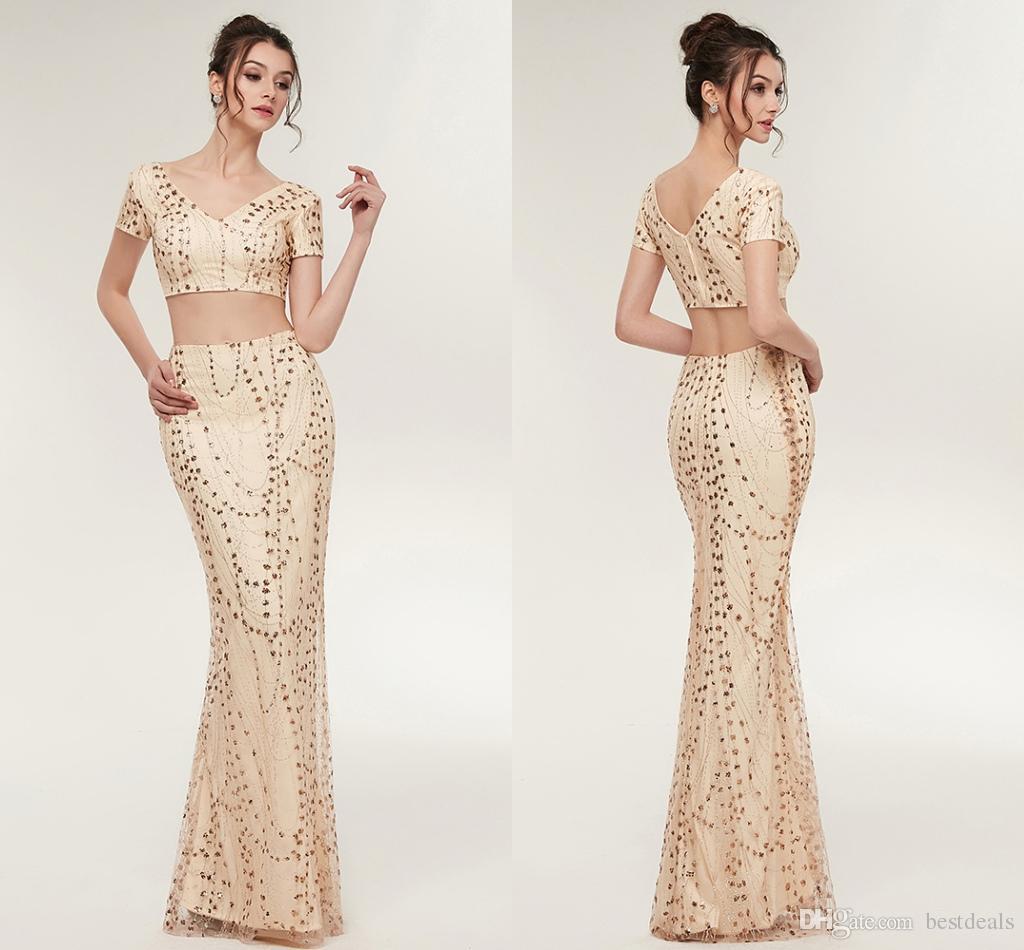 2018 New Designer Luxury Gold Two Pieces Prom Dresses Mermaid Short ...