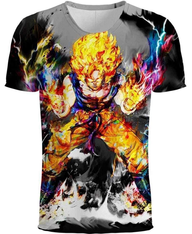 4d095434226e New T Shirt Painting Goku Tee Shirts Colorful Dragon Ball Z Tshirt Anime T  Shirt Summer Short Sleeve Men Women Fans Tops Outwear S 5XL Shirt Custom T  Shirts ...