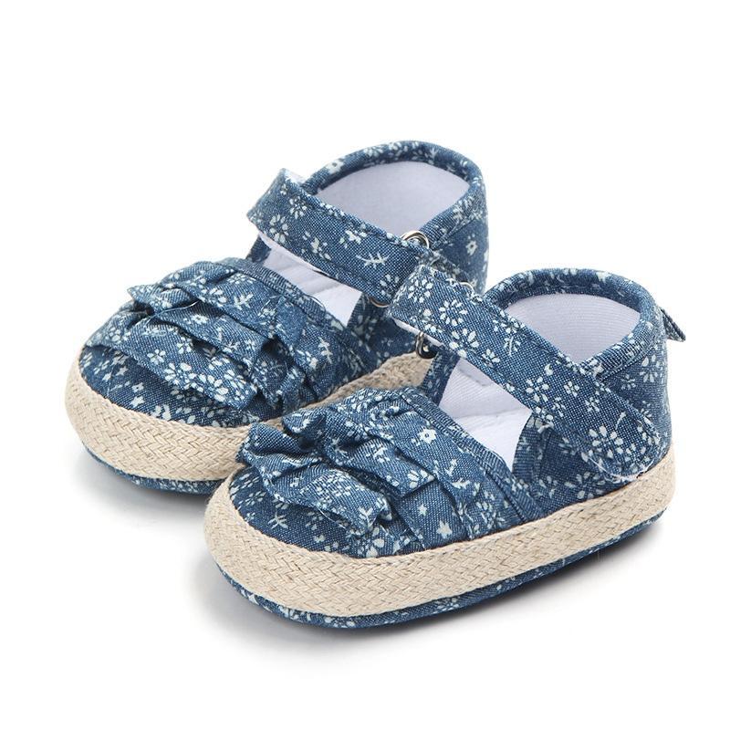 D'été À Nouveau Fille Marcheurs Filles Bébé Denim Coton Princesse Semelle Né Chaussures Premiers Pour Souple CBeQWrdxEo