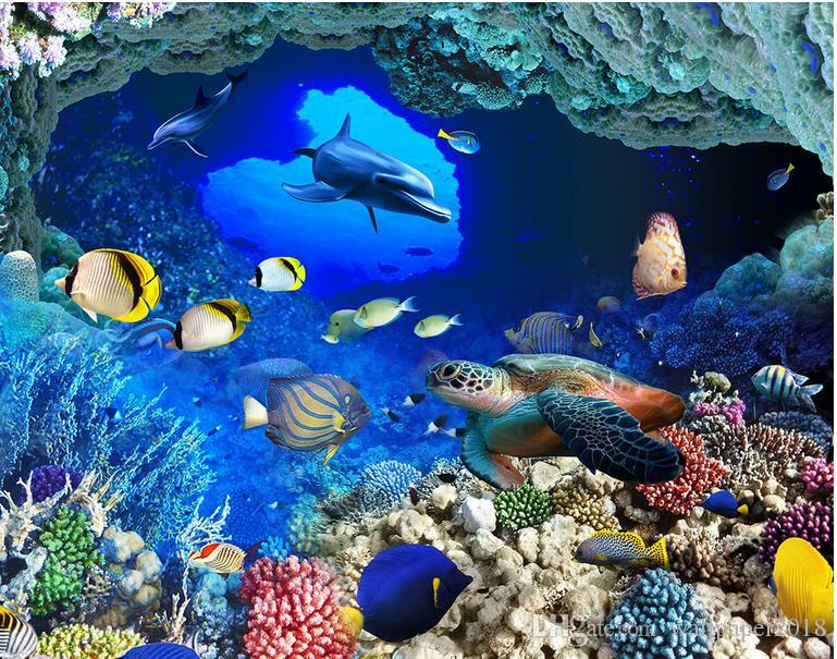 Floor Wallpaper For Kids Room Underwater World Caves Tropical Fish Huge 3D Three Dimensional Picture Hd Widescreen Wallpapers Desktop Hi Def