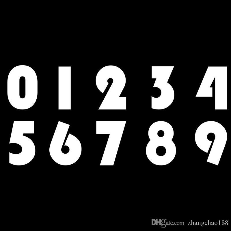 figure 0-9 practical number 17.7*8 cm vomyl car sticker black/silver