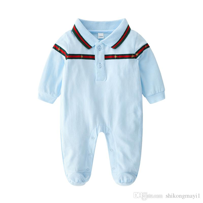 16e7bad3b 2019 Baby Rompers Body Suits Cover Newborn Boys Girls One Pieces Clothes  Solid Color Printed Baby Spring And Autumn Long Sleeves Sleepsuits Ropa  From ...