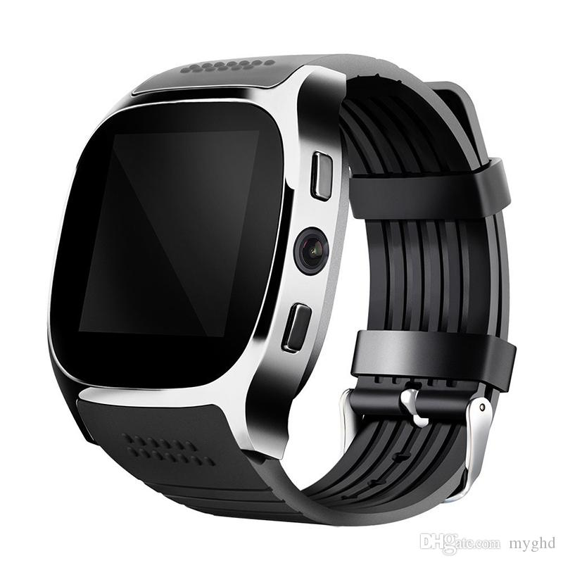 Pour Android Nouveau T8 Bluetooth Smart Podomètre Montres Support SIM Carte TF avec Caméra Sync Appel Message Hommes Femmes Smartwatch Montre
