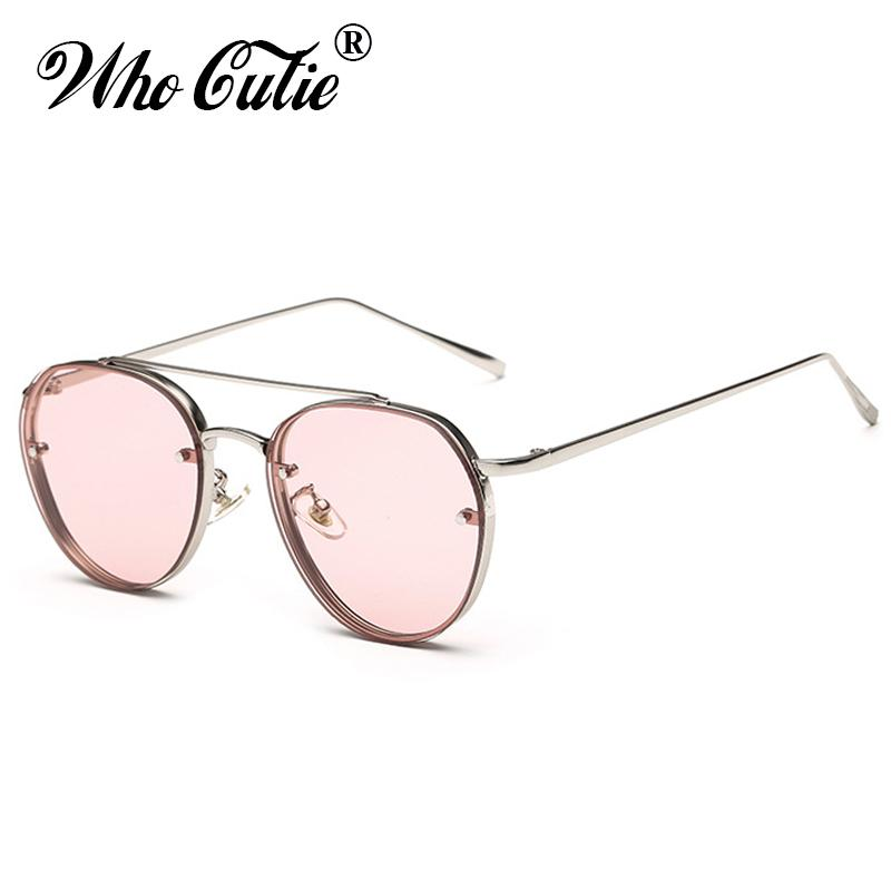 ca13d29ad50 WHO CUTIE 2018 Round Sunglasses Men Women Brand Designer Vintage Pink Clear  Lens Flat Top Sun Glasses Shades Oculos 525 Round Sunglasses Flat Top Sun  ...