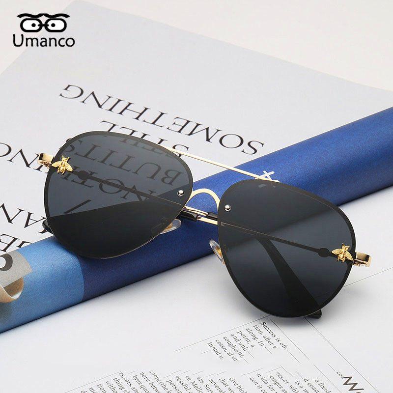 90ab59ec7c Compre Umanco Retro Marco De Oro Gafas De Sol De Abeja Mujeres Hombres Moda  Vintage Gafas De Sol De Metal Gafas De Conducción Masculina Gafas De Viaje  ...