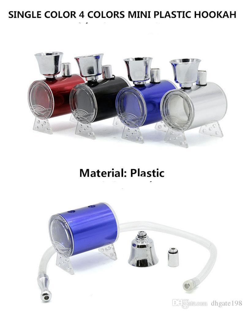 Großhandel Günstige Mini Protable Wasser Rauch Wasserpfeife mit Schlauch Shisha Kunststoff Wasserbongs trocken Herb Tabak rauchen Wasserpfeife Bongs