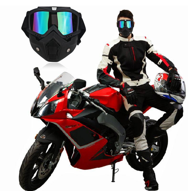 4c3a6c96b8 Compre Gafas De Moto Moto Vintage Open Face Helmet Máscara Desmontable Ski  Bike Motocross Gafas Casco Moto Gafas Máscara Negro A $20.62 Del Tonethiny  ...