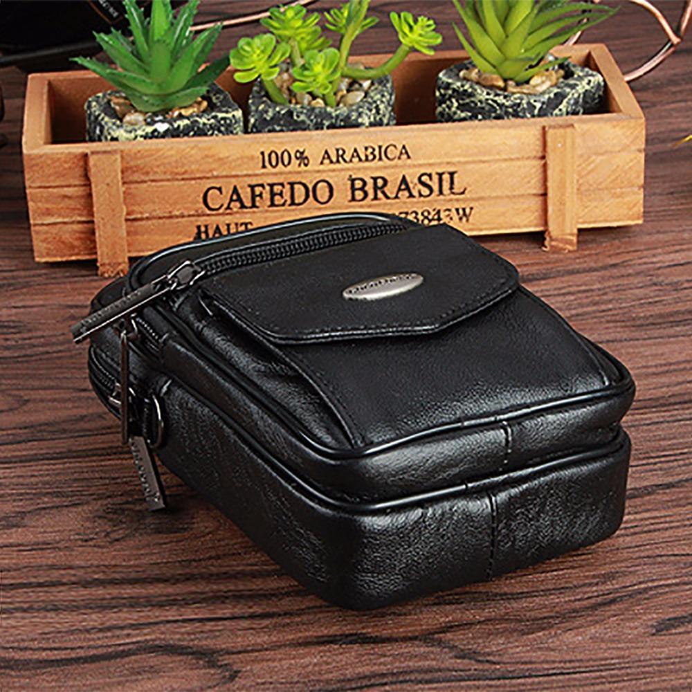 100% Genuine Leather Men Messenger Waist Bag Mobile Phone Case Male Belt Pack Natural Skin Cowhide Small Shoulder Bag