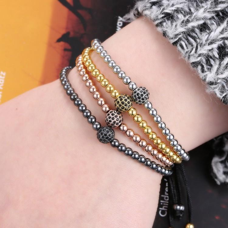 Luxury Shambhala Beads Lace Thread Hand Braided Macrame Bracelet Black Rope Cord Braclets For Women Male Hand Jwewlry