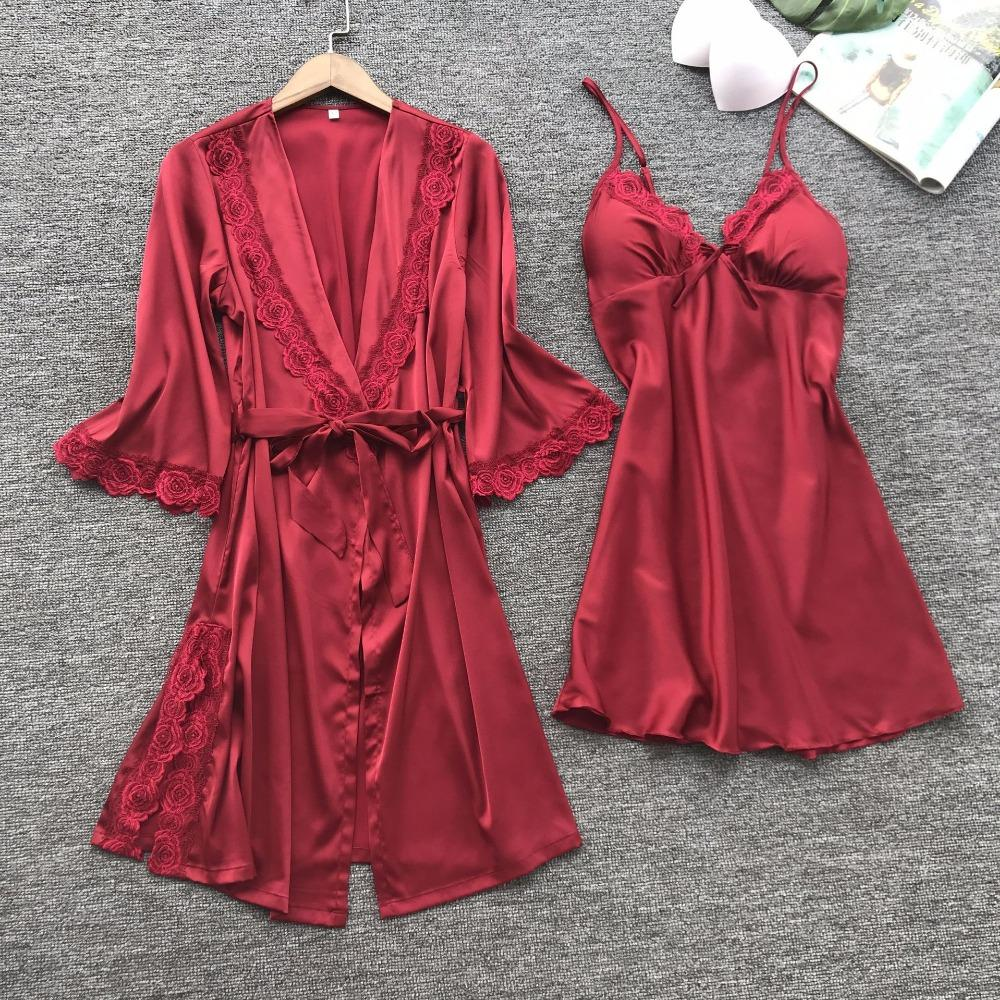 2019 Foply Brand Women Bathrobes Imitation Silk Silk Robe Sets Sexy Lace  Sleepwear High Quality Satin V Neck Indoor Lingerie Set From Guocloth 2e4a8d08b7