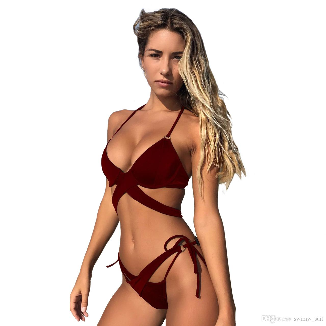 becfba2dfda 2019 Solid Cross Bandage Bikini Set 2018 Underwire Push Up Bikinis Women  Split Swimsuit Ladies Bathing Suit Halter Swimwear Badpak From Swimw suit