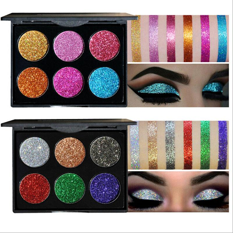 Beauty Essentials Handaiyan 6 Color Diamond Glitter Eyeshadow Palette Gold Shine Eyeshadow Glitter Shiny Eyeshadow Purple Blue Eye Shadows Eye Shadow