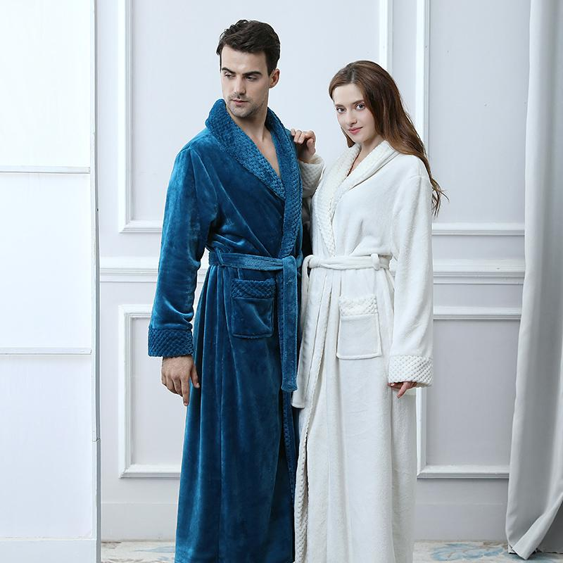fdc3072e6b 2019 Extra Long Plus Size Winter Thick Warm Flannel Coral Fleece Waffle  Kimono Bathrobe Men Women Luxury Dressing Gown Male Bath Robe From Roberr