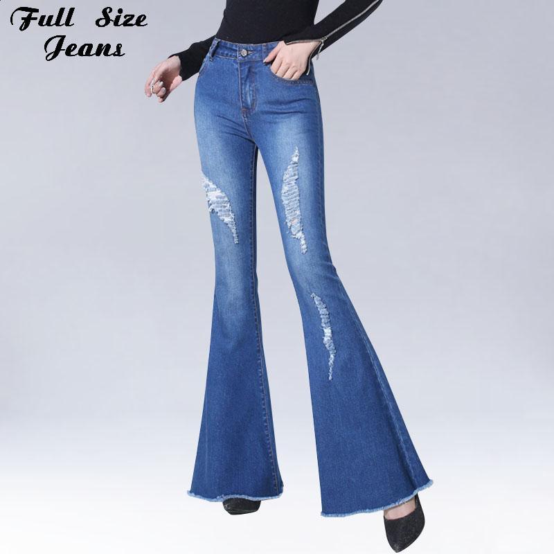 3d72393a5f Compre Pantalones Vaqueros Flare Rasgados Con Agujeros Pantalones Elásticos  Estrechos Con Pierna Ancha Pantalones Vaqueros Apeados Azul Claro Bottom  Bell ...