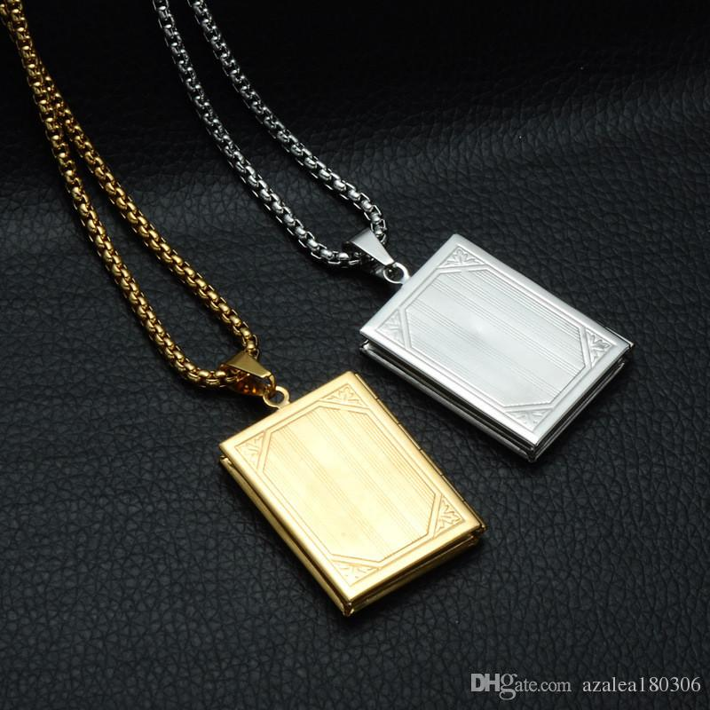 Cross Photo Box Pendant Necklace Bible-shaped Stainless Steel Pendant 60cm Chain Unisex Jewellry Three Colors Optional