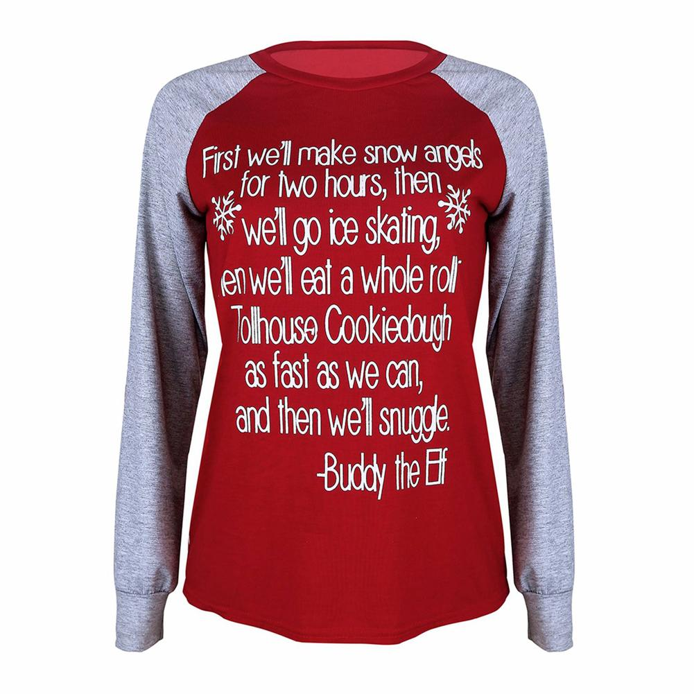 2018 New Fashion Women Xmas Letter Printed Casual T-Shirt Pullover Splicing  Long Sleeve Patches Christmas Basic Tee Tops Red Online with  32.55 Piece  on ... 89ea3790d