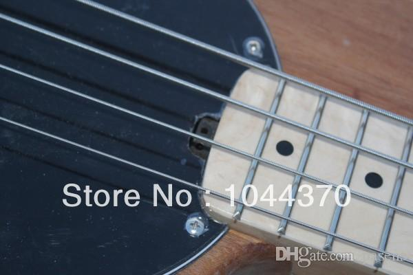 Wholesale 4 strings bass Natural wooden Music bass natural stingray with black pick guard electric bass HOT 2011