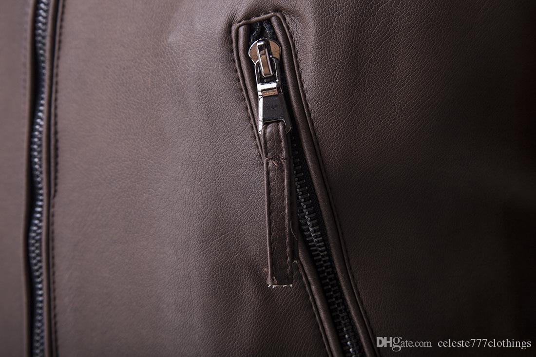 Veste en cuir de vrai homme Manteaux Slim Fit moto Vestes Col montant WOLVERINE Homme PU Faux Cuir Manteaux Étanche Outwear