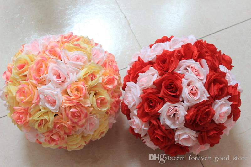 Wholesale brand artificial rose balls silk flower kissing balls wholesale brand artificial rose balls silk flower kissing balls hanging rose balls christmas ornaments wedding party decorations rose bouquet at 602 mightylinksfo Choice Image