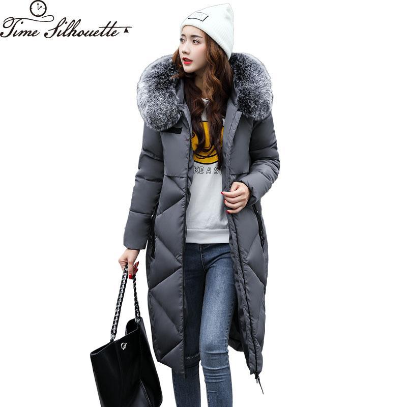 2019 2017 Winter Coat Women Large Fur Collar Hooded Cotton Coats Parkas  Long Women s Jackets Outerwear Snow Wear Abrigos Mujer L278 From Felix06 2a2359777