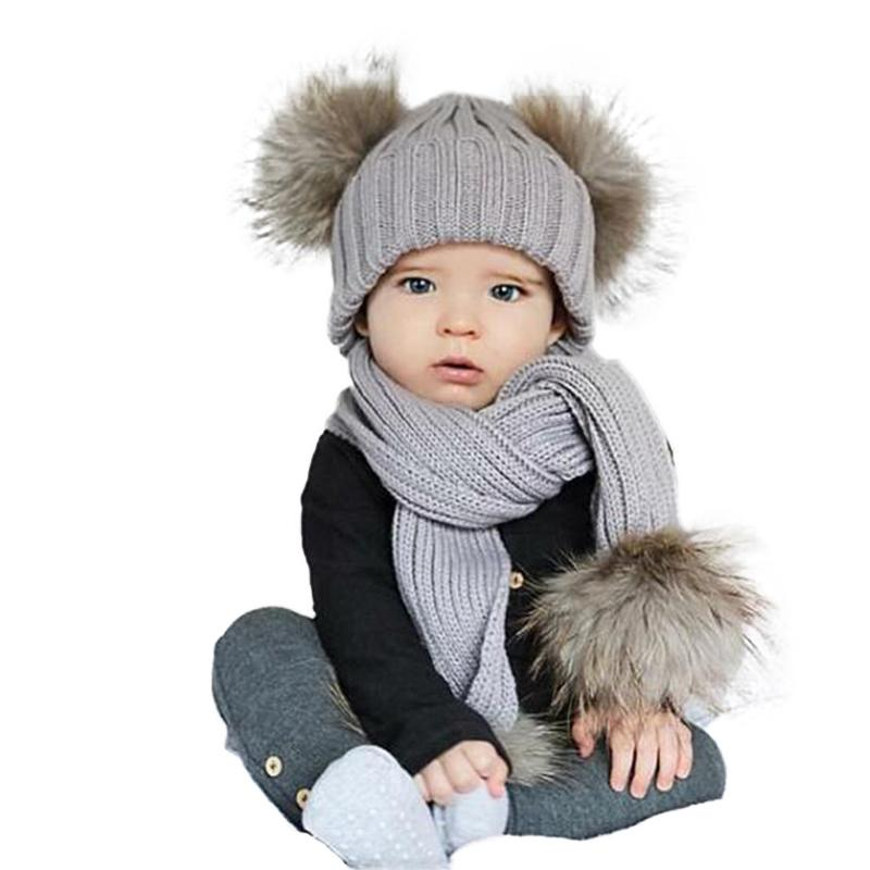 Winter Kids Double Pom Pom Hats Scarf Set Baby Child Thick Warm Knitted Fur Hat  Beanies Boys Girls Neck Warmer Pompom Cap Bonnet UK 2019 From Peachguo 94af575568a