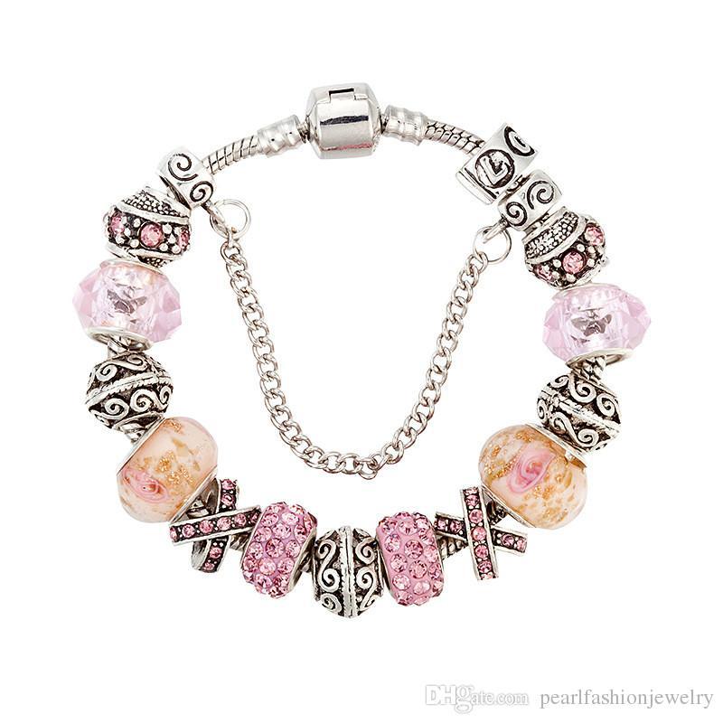 610bf37235bc Compre 17 18 19 20 21 Cm Pandora Pulsera De Moda Pulseras Del Encanto De  Plata Para Las Mujeres Cuentas De Cristal Rosa Bricolaje Broche De Joyería  Envío De ...
