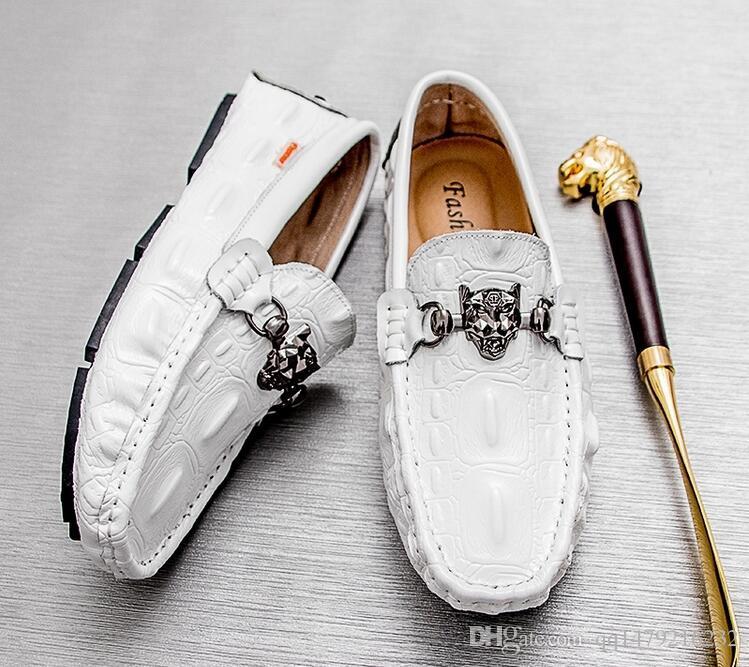 2018 yıl Yeni Moda Otantik Marka Casual Erkek Hakiki Deri Loafer'lar Ayakkabı El Yapımı Ayakkabı Ücretsiz elbise ayakkabı Boyutu: 38-45 a30
