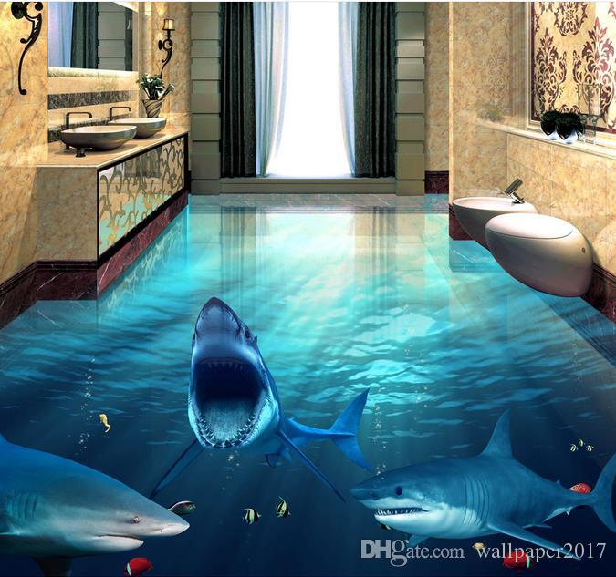 Fierce Shark Underwater World 3d Bathroom Living Room