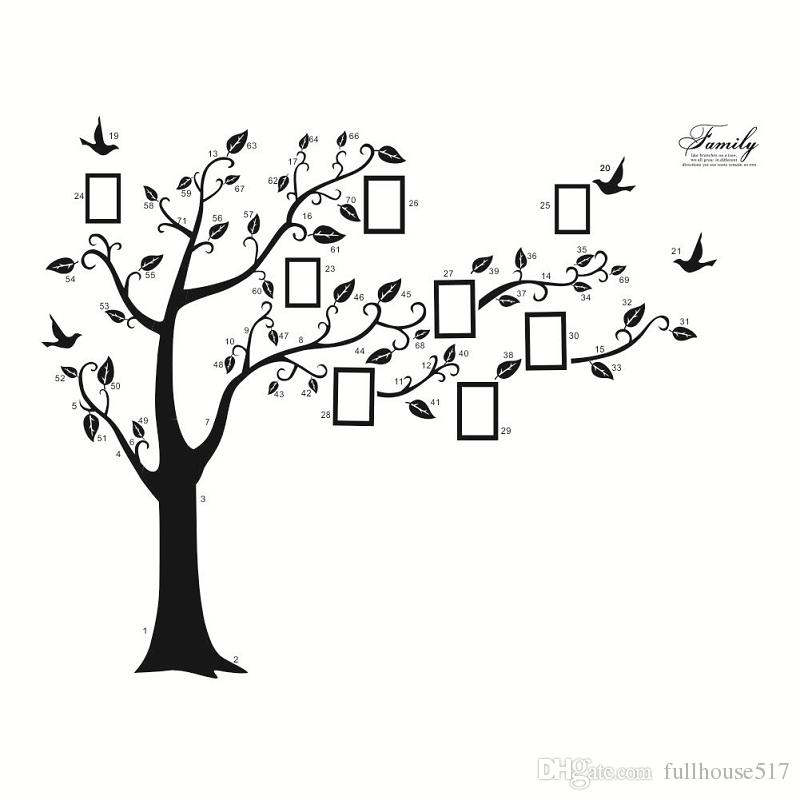 2cae739ad Large Family Tree Wall Decor Picture Frames DIY Photo Gallery Frame Decor  Sticker For Living Room Bedroom Sofa Backdrop 180 250 Cm Decorating With  Wall ...