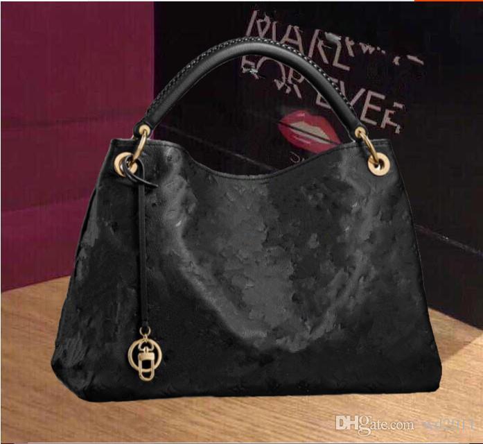 جديد جودة عالية الأزياء بو الجلود حقائب نسائية المصممين الأسود الشهير حمل حقائب الكتف مع حقيبة الغبار M40249