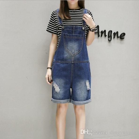 6239d3c94442 Summer Women s Knee Length Denim Bib Suspender Pants Casual Plus ...