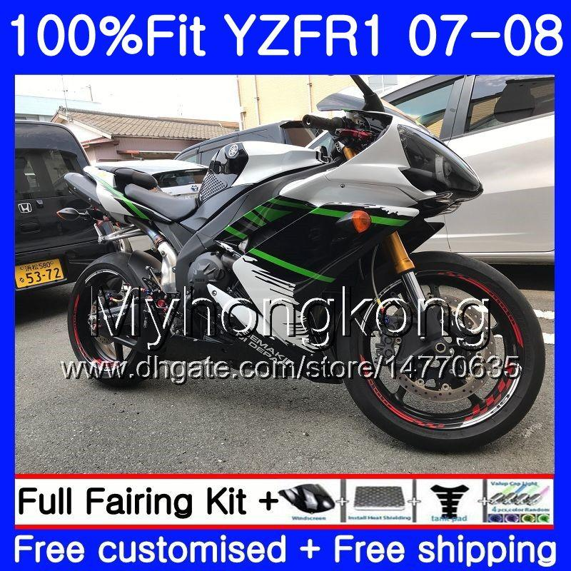 Injection Body For YAMAHA YZF R 1 YZF 1000 YZFR1 07 08 227HM.2 YZF R1 07 08 YZF1000 Green white stock YZF-1000 YZF-R1 2007 2008 Fairing Kit