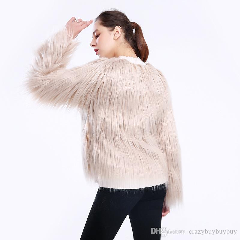 Womens Girls Round Collar Faux Fur Long Sleeve Warm Outwear Coat White Jacket Ladies Faux Fur coat winter wear WT32