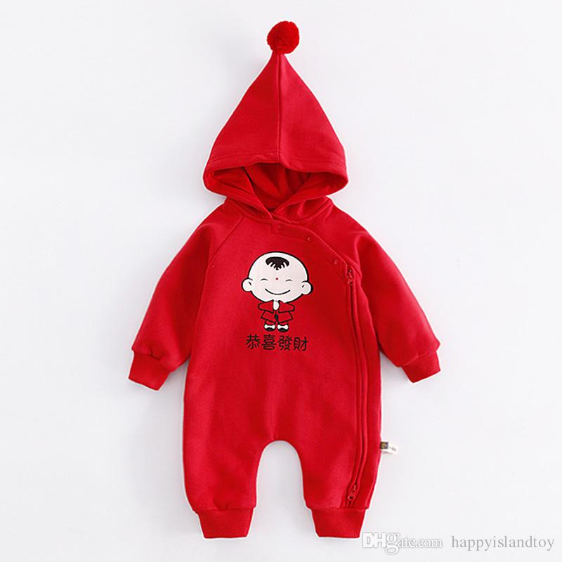 11ad572ef2cd Cotton New Year Clothing Long Sleeve Baby Jumpsuit Romper Print ...