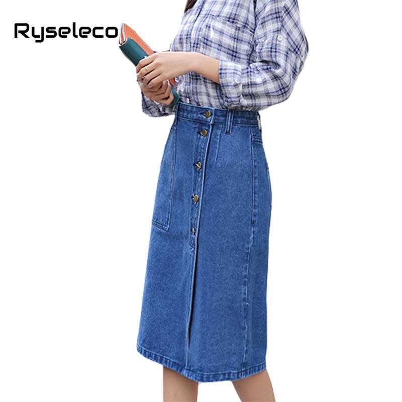 2019 Ryseleco Women Knee Length Pencil Female Vintage Denim Skirt