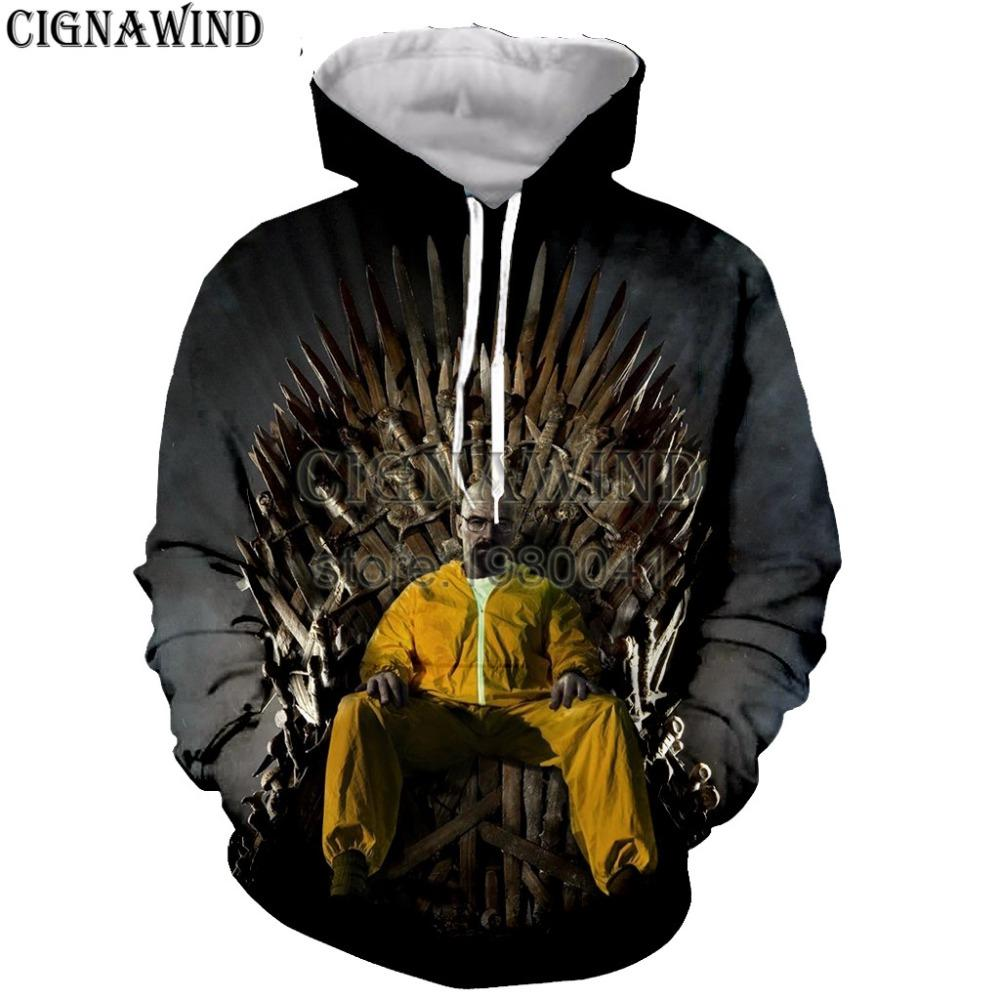 New Harajuku breaking bad hoodies men women sweatshirts Mr. white printed 3d hoodie hip hop pullover hooded casual streetwear