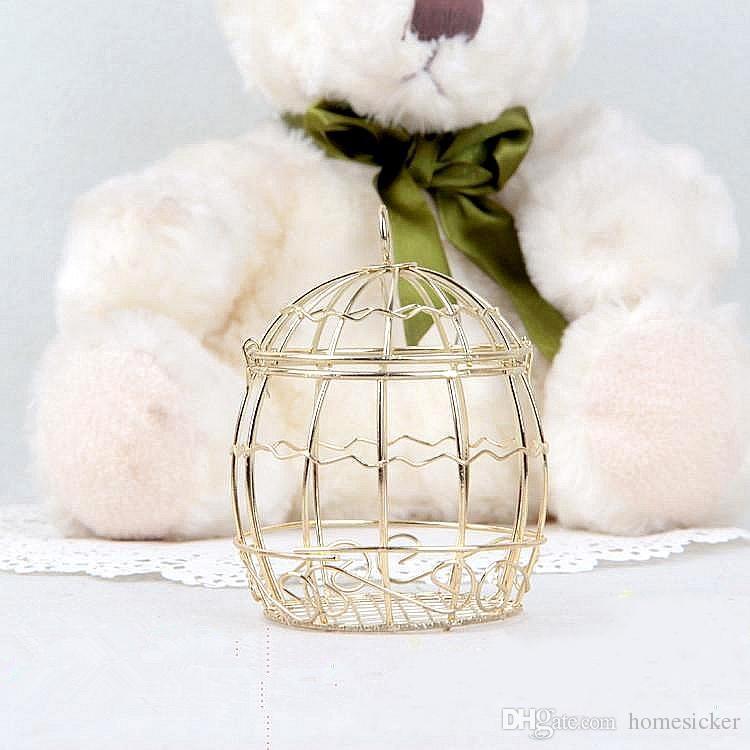 Heißer verkauf Gold Hochzeitsbevorzugungskasten Europäischen romantischen schmiedeeisen birdcage hochzeit pralinenschachtel blechdose für Hochzeitsbevorzugungen