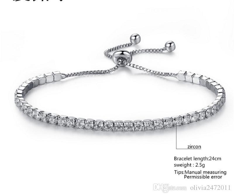 Bruiloft Crystal Verstelbare Link Ketting Armband Armbanden voor Dames Zirkonia Wit Goud Kleur Romantische Charme Armbanden Sieraden