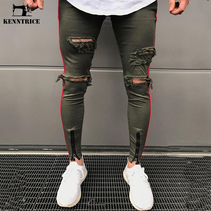 Compre Venta Al Por Mayor Skinny Ripped Jeans Hombres Joggers Hip Hop  Pantalones Negro Ejército Verde Militar Pantalones Delgados Agujero Moda  Boyfriend ... 66e1551a40ba
