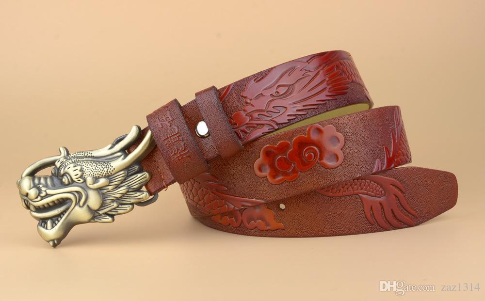 New type belt high quality brand designer belts luxury belts for men copper dragon buckle belt men and women waist genuine leather belts